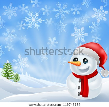 A happy Christmas Snowman in snowy scene with snow flakes - stock vector