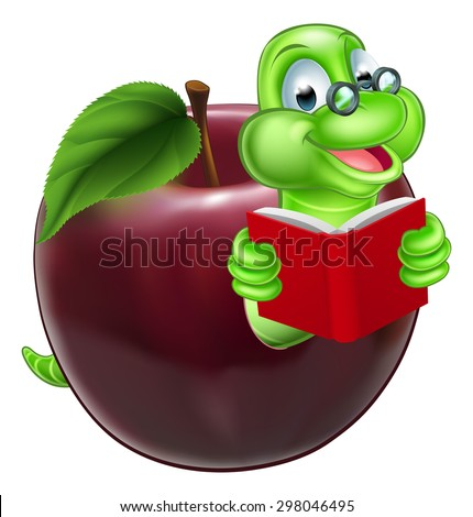 A happy cute cartoon caterpillar bookworm worm or caterpillar reading a book and coming out of an apple and wearing glasses - stock vector
