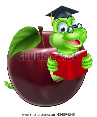 A happy cute cartoon caterpillar bookworm worm or caterpillar reading a book and coming out of an apple and wearing glasses and mortar board graduation hat - stock vector