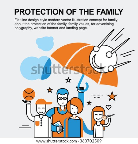 A happy family. Big family. Joyful family. Father, mother, son and daughter. Successful family. A caring family. Flat line design concept for advertising polygraphy, website banner and landing page. - stock vector