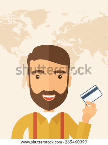 A happy hipster Caucasian businessman thankfully standing holding his credit card. Fulfillment concept. A contemporary style with pastel palette, beige tinted background. Vector flat design - stock vector
