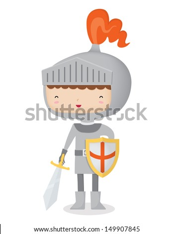 A happy knight. This is an AI 10 file that doesn't contain any transparencies or blends. It does contain gradients and gradient meshes. Also included is a complete hand behind the shield. - stock vector