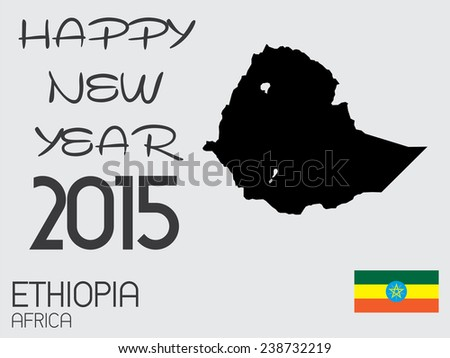 A Happy New Year 2015 - Infographic Elements for the Country of Ethiopia - stock vector