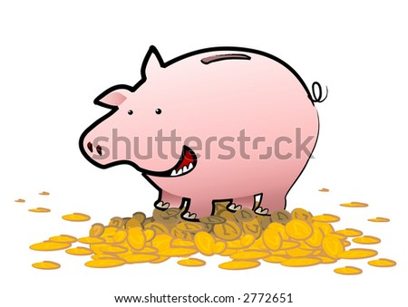 A happy piggy bank stands upon a pile of gold coins - the savings are a bonus bonanza for it. What a happy pig!