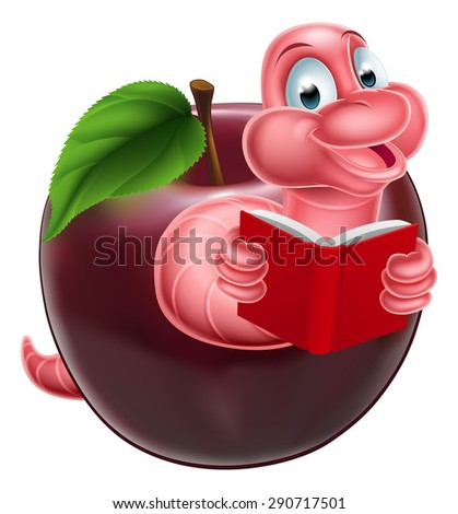 A happy smiling cute pink cartoon caterpillar worm bookworm coming out of an apple and reading a book - stock vector