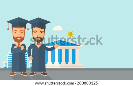 A happy two young men wearing a toga and graduation cap standing under the sun. A Contemporary style with pastel palette, soft blue tinted background with desaturated clouds. Vector flat design - stock vector