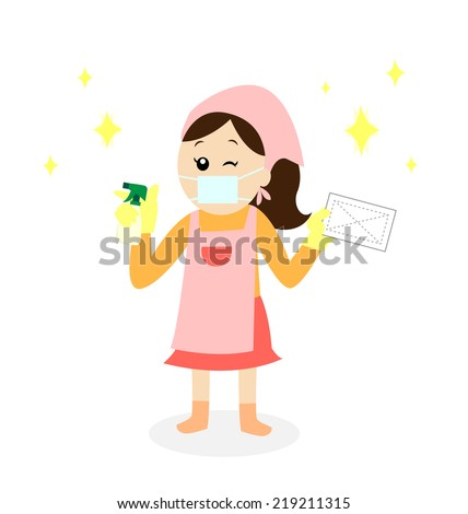 A happy woman cleaning with a cleanser and a rag and wearing a mask and an apron, vector illustration  - stock vector