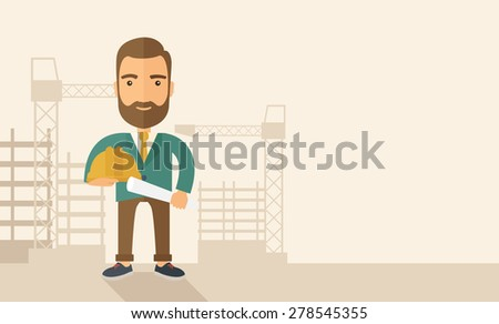 A happy young construction worker holding hard hat and blueprint plan. A Contemporary style with pastel palette, soft beige tinted background. Vector flat design illustration. Horizontal layout with - stock vector