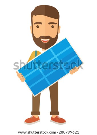 A happy young man standing while holding a solar panel. A Contemporary style. Vector flat design illustration isolated white background. Vertical layout - stock vector