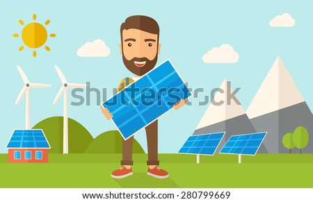 A happy young man standing while holding a solar panel under the heat of the sun. A Contemporary style with pastel palette, soft blue tinted background with desaturated clouds. Vector flat design - stock vector