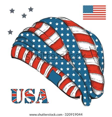 Hat American Flag Headgear Handdrawn Sketch Stock Vector 320919044