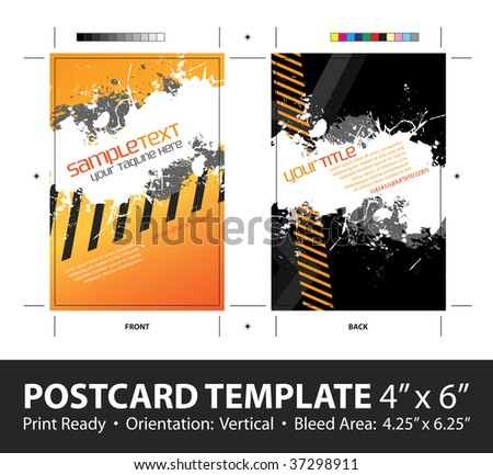A hazard stripes postcard or direct mailer design template with sample text. Easily customize this vector image to suit the needs of your business. Print ready 4 x 6 with bleeds and crop marks. - stock vector