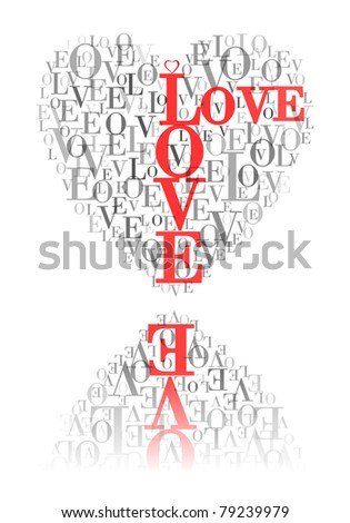 "A heart made of words ""LOVE"" and reflected - stock vector"