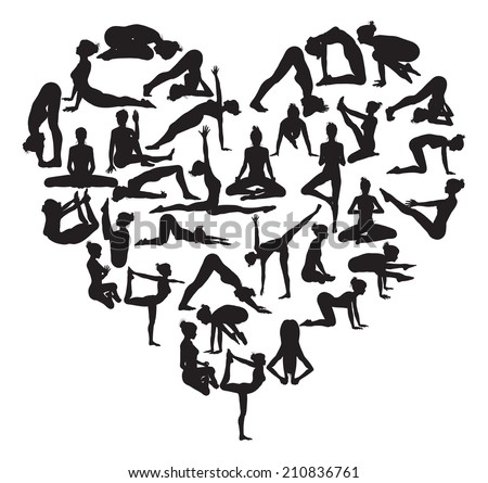 A heart shape made from silhouettes in yoga or pilates poses - stock vector