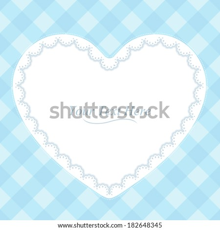 A heart shaped lace frame on a soft blue plaid background. Eps 10 Vector. - stock vector