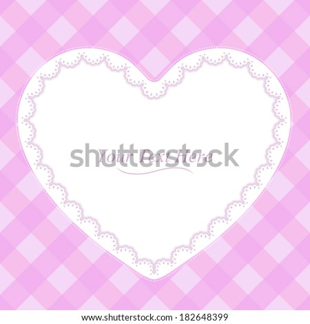 A heart shaped lace frame on a soft pink plaid background. Eps 10 Vector. - stock vector