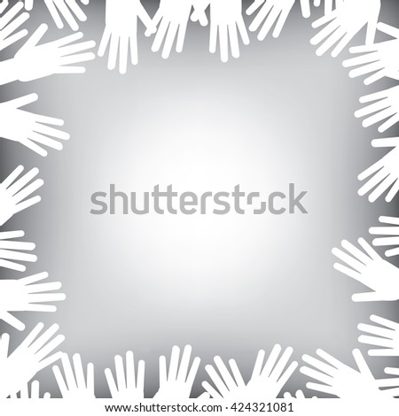 A helping hands background in black and white - stock vector