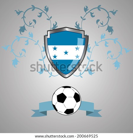 a heraldry shield with the flag of honduras, a ribbon and a soccer ball - stock vector