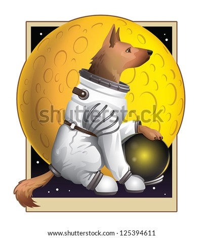 A heroic German Shepherd poised stoically in front of a yellow moon wearing his trusty spacesuit. - stock vector