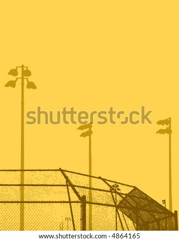A high contrast illustration of a baseball field
