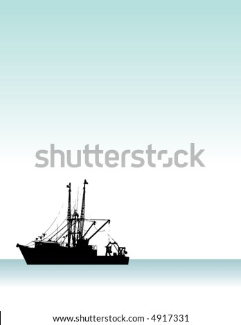A high contrast illustration of a fishing boat on the ocean - stock vector