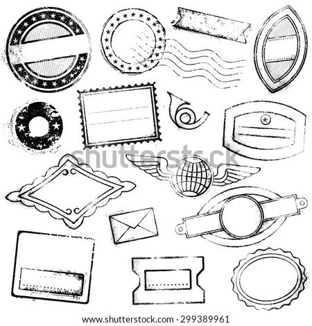 A high detail set of generic and empty stamps suitable for graphic designs for Travel, mail, promotional offers and more. - stock vector