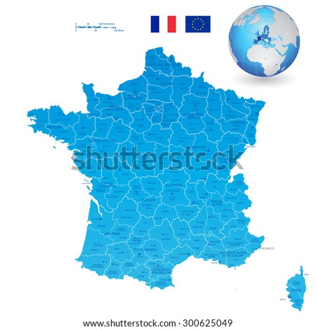 A High Detail vector Map of France Regions, Departments and major cities, and an earth globe centered on France. 