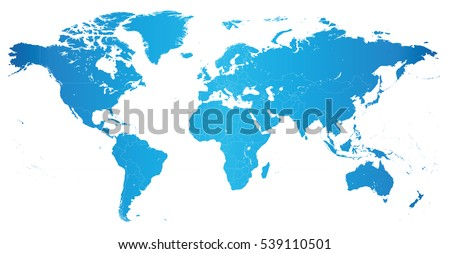 High Detail World Map Elements Separated Stock Vector