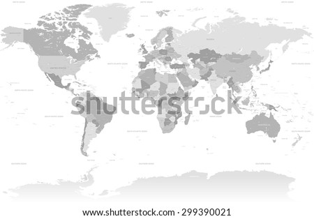 A High Detail vector Map set composed by a full map of the world in grey colors. All countries are named with the respective english name with country capitals, major cities, lakes and seas. - stock vector