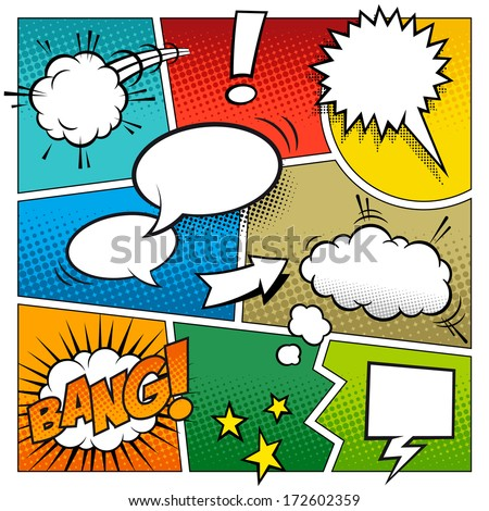A high detail vector mock-up of a typical comic book page with various speech bubbles, symbols and sound effects and colored Halftone Backgrounds. - stock vector