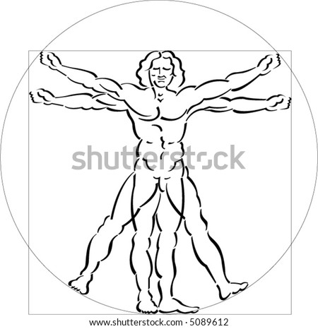 A highly stylized drawing of vitruvian man - stock vector