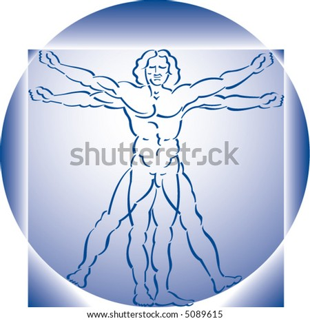 A highly stylized drawing of vitruvian man in blue - stock vector
