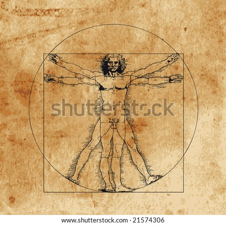 A highly stylized drawing of vitruvian man with crosshatching and sepia tones - stock vector