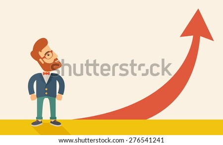 A hipster businessman standing beside the red arrow pointing up. Successful business concept. A Contemporary style with pastel palette, soft beige tinted background. Horizontal layout with text space - stock vector