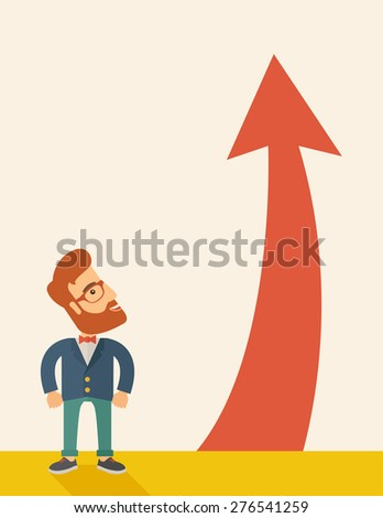 A hipster businessman standing beside the red arrow pointing up. Successful business concept. A Contemporary style with pastel palette, soft beige tinted background. Vector flat design illustration - stock vector