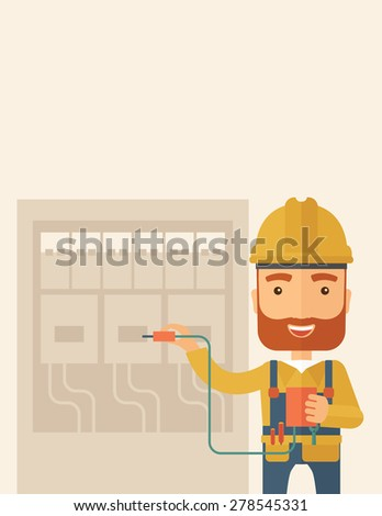 A hipster Electrician wearing hard hat repairing an electrical panel. A Contemporary style with pastel palette, soft beige tinted background. Vector flat design illustration. Vertical layout with text - stock vector