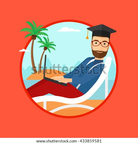 A hipster graduate with the beard lying in chaise long. Graduate in graduation cap working on laptop. Graduate on a beach. Vector flat design illustration in the circle isolated on background. - stock vector