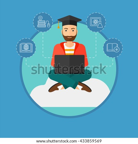 A hipster graduate with the beard sitting on the cloud. Graduate working on laptop. Education technology and graduation concept. Vector flat design illustration in the circle isolated on background. - stock vector