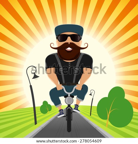 A hipster is cycling in the park - stock vector