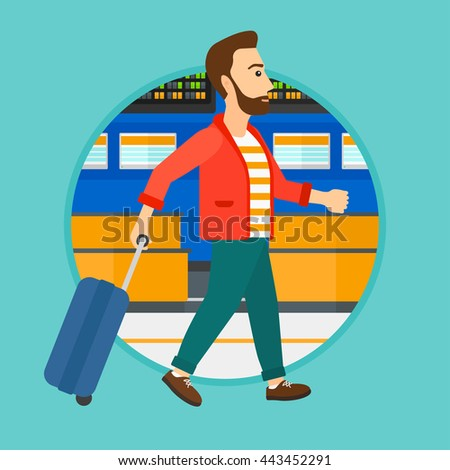 A hipster man walking at the airport. Passenger with a suitcase walking on the background of schedule board at the airport. Vector flat design illustration in the circle isolated on background.