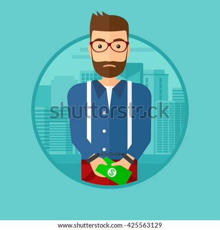 A hipster man with the beard in handcuffs with money in hands on the background of modern city. Vector flat design illustration in the circle isolated on background. - stock vector