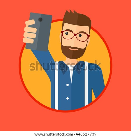 A hipster man with the beard making selfie. Young man taking photo with cellphone. Man looking at smartphone and taking selfie. Vector flat design illustration in the circle isolated on background. - stock vector