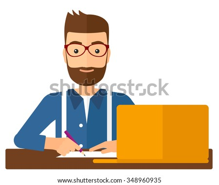 A hipster man with the beard studying sitting in front of laptop and taking some notes vector flat design illustration isolated on white background. Vertical layout. - stock vector