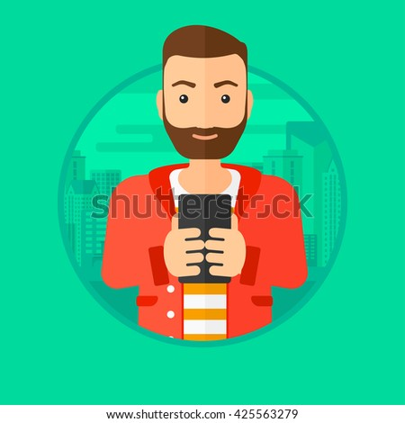 A hipster man with the beard using smartphone on a city background. Vector flat design illustration in the circle isolated on background. - stock vector
