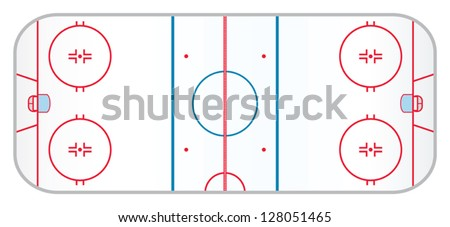 A hockey rink with realistic markings like the ones used in the professional version of the game. - stock vector