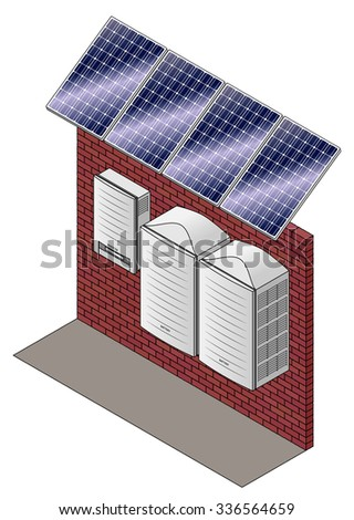 A home solar power set up with polycrystalline solar panels, inverter and battery packs. - stock vector