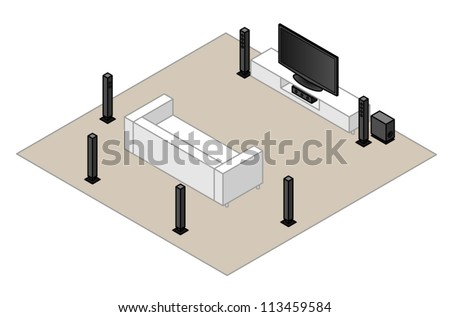 71 Home Theatre Setup With Subwoofer Centre Stock Vector 113459584 ...