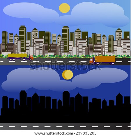 A horizontal view of the city day and night and riding the truck and tanker truck - stock vector