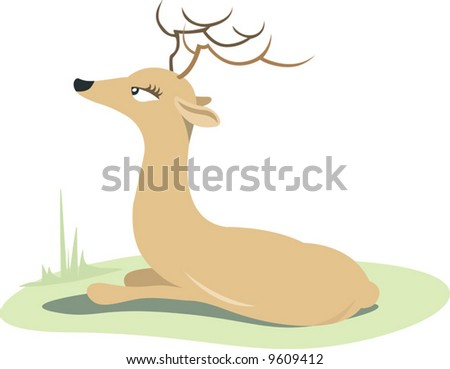 a horn dear resting in a grass land	 - stock vector
