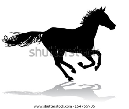 A horse gallops fast, vector illustration silhouette on a white background.